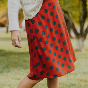 NWT Roolee teal & red polka dot skirt